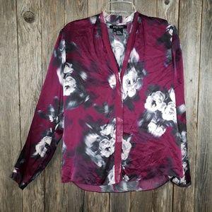 Etcetera Silk Purple Gray Floral Blouse Top